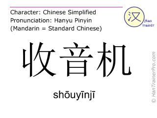 汉字  ( shouyinji / shōuyīnjī ) 包括发音 (英文翻译: radio )