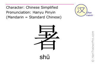 Chinese characters  ( shu / shŭ ) with pronunciation (English translation: <m>heat</m> )