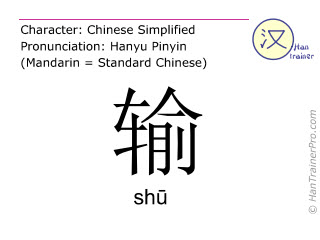 Chinese characters  ( shu / shū ) with pronunciation (English translation: to lose )