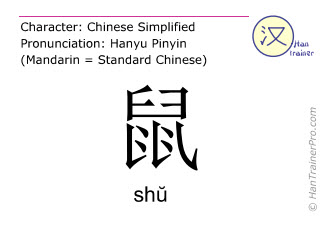Chinese characters  ( shu / shŭ ) with pronunciation (English translation: rat )