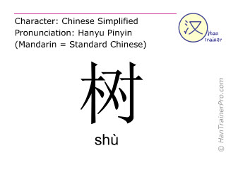 Chinese characters  ( shu / shù ) with pronunciation (English translation: tree )