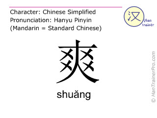 Chinese characters  ( shuang / shuăng ) with pronunciation (English translation: bright )