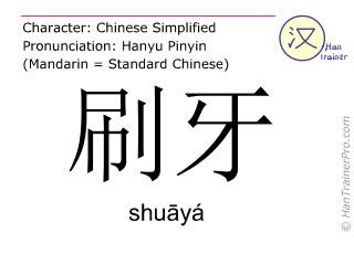 Caracteres chinos  ( shuaya / shuāyá ) con pronunciación (traducción española: cepillarse los dientes )