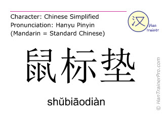 Chinese characters  ( shubiaodian / shŭbiāodiàn ) with pronunciation (English translation: mouse pad )