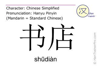 Chinese characters  ( shudian / shūdiàn ) with pronunciation (English translation: bookstore )