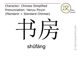 Chinesische Schriftzeichen  ( shufang / shūfáng ) mit Aussprache (Deutsche Bedeutung: Arbeitszimmer )