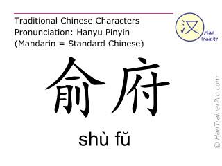Chinesische Schriftzeichen  ( shu fu / shù fŭ ) mit Aussprache (Deutsche Bedeutung: Niere 27 )