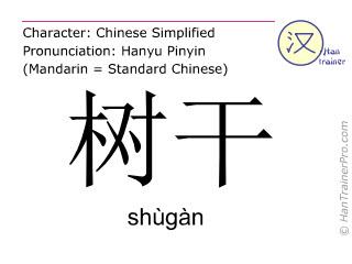 Chinese characters  ( shugan / shùgàn ) with pronunciation (English translation: trunk )