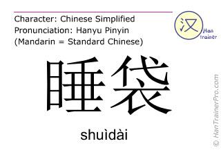 Caracteres chinos  ( shuidai / shuìdài ) con pronunciación (traducción española: saco de dormir )