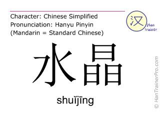 Chinese characters  ( shuijing / shuĭjīng ) with pronunciation (English translation: pebble )