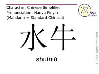 Caracteres chinos  ( shuiniu / shuĭniú ) con pronunciación (traducción española: búfalo )