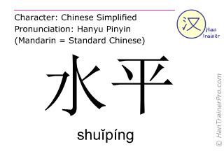 汉字  ( shuiping / shuĭpíng ) 包括发音 (英文翻译: level )