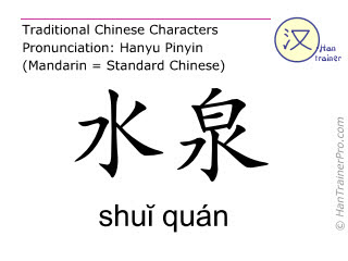 Chinese characters  ( shui quan / shŭi quán ) with pronunciation (English translation: Kidney 5 )