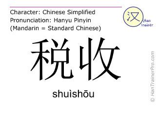 Chinesische Schriftzeichen  ( shuishou / shuìshōu ) mit Aussprache (Deutsche Bedeutung: Steuereinnahmen )