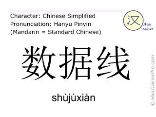 Caractère chinois  ( shujuxian / shùjùxiàn ) avec prononciation (traduction française: câble de données )