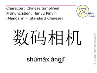 Chinese characters  ( shumaxiangji / shùmăxiàngjī ) with pronunciation (English translation: digital camera )