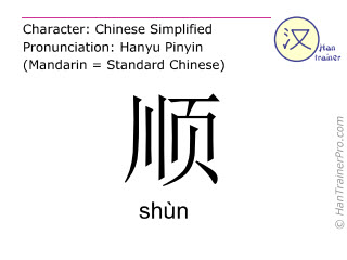 汉字  ( shun / shùn ) 包括发音 (英文翻译: along )
