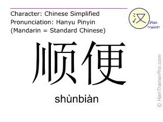 Chinese characters  ( shunbian / shùnbiàn ) with pronunciation (English translation: in passing )