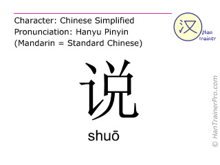 Chinesische Schriftzeichen  ( shuo / shuō ) mit Aussprache (Deutsche Bedeutung: sagen )