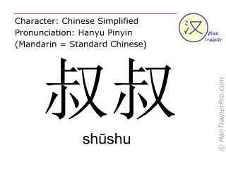 Caracteres chinos  ( shushu / shūshu ) con pronunciación (traducción española: tío )