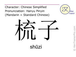 Chinesische Schriftzeichen  ( shuzi / shūzi ) mit Aussprache (Deutsche Bedeutung: Kamm )