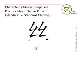 Chinesische Schriftzeichen  ( si / sī ) mit Aussprache (Deutsche Bedeutung: Seide )