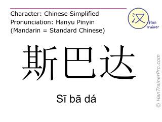 Chinesische Schriftzeichen  ( Si ba da / Sī bā dá ) mit Aussprache (Deutsche Bedeutung: Sparta )