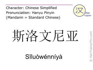 Chinese characters  ( Siluowenniya / Sīluòwénníyà ) with pronunciation (English translation: Slovenia )