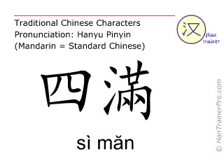 Caractère chinois  ( si man / sì măn ) avec prononciation (traduction française: rein 14 )