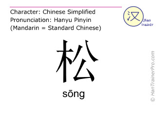 Chinese characters  ( song / sōng ) with pronunciation (English translation: pine )