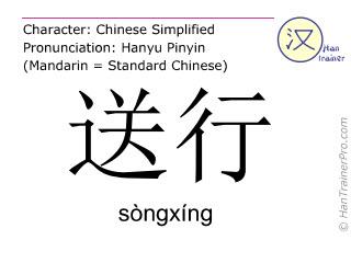 Chinesische Schriftzeichen  ( songxing / sòngxíng ) mit Aussprache (Deutsche Bedeutung: einen Reisenden verabschieden )