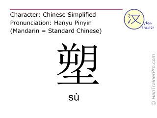Caracteres chinos  ( su / sù ) con pronunciación (traducción española: modelar )