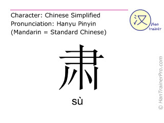 Chinese characters  ( su / sù ) with pronunciation (English translation: <m>respectful</m> )