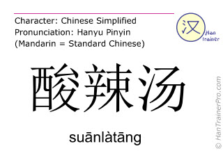 Chinese characters  ( suanlatang / suānlàtāng ) with pronunciation (English translation: hot and sour soup )