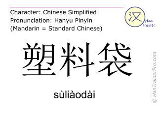 Caracteres chinos  ( suliaodai / sùliàodài ) con pronunciación (traducción española: bolsa de plástico )