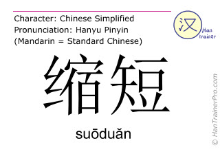 Chinese characters  ( suoduan / suōduăn ) with pronunciation (English translation: to shorten )