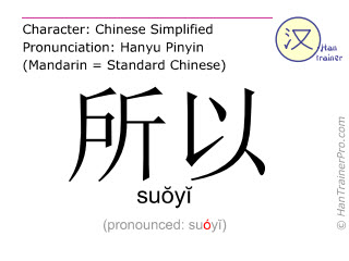 Chinese characters  ( suoyi / suŏyĭ ) with pronunciation (English translation: so )