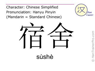 Caracteres chinos  ( sushe / sùshè ) con pronunciación (traducción española: dormitorio )