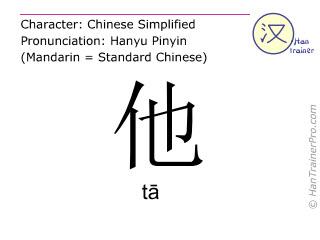 汉字  ( ta / tā ) 包括发音 (英文翻译: he )