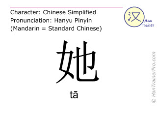Chinese characters  ( ta / tā ) with pronunciation (English translation: she )