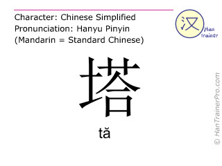 Chinese characters  ( ta / tă ) with pronunciation (English translation: tower )