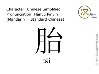 Chinese characters  ( tai / tāi ) with pronunciation (English translation: fetus )