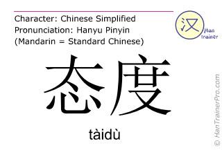 Chinesische Schriftzeichen  ( taidu / tàidù ) mit Aussprache (Deutsche Bedeutung: Einstellung )