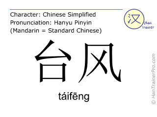 Chinese characters  ( taifeng / táifēng ) with pronunciation (English translation: typhoon )