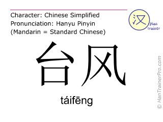 Caracteres chinos  ( taifeng / táifēng ) con pronunciación (traducción española: tifón )