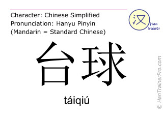 Chinese characters  ( taiqiu / táiqiú ) with pronunciation (English translation: billiard )