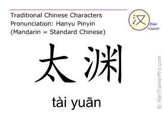 Caracteres chinos  ( tai yuan / tài yuān ) con pronunciación (traducción española: pulmón 9 )