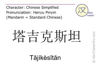 Chinese characters  ( Tajikesitan / Tăjíkèsītăn ) with pronunciation (English translation: Tajikistan )