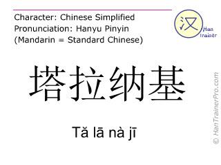 汉字  ( Ta la na ji / Tă lā nà jī ) 包括发音 (英文翻译: Taranaki )
