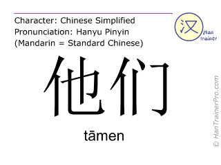 Chinese characters  ( tamen / tāmen ) with pronunciation (English translation: they )
